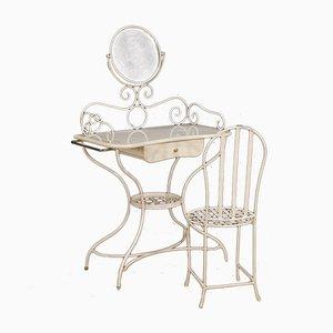 Bemalter italienischer Frisiertisch aus Eisen mit Stuhl, 1960er