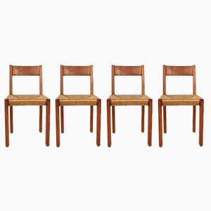 Mid-Century Model S24 Wood & Straw Chairs by Pierre Chapo, Set of 4