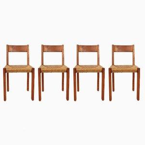 Mid-Century Modell S24 Holz & Straw Chairs von Pierre Chapo, 4er Set