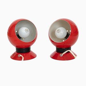 Lámparas Ny-Mag esféricas en rojo de Abo Randers, años 60. Juego de 2