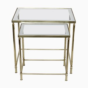 Brass & Glass Nesting Tables from Maison Jansen, 1970s