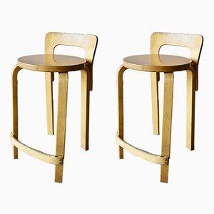 Chaises Hautes K65 Vintage par Alvar Aalto pour Artek, Set de 2
