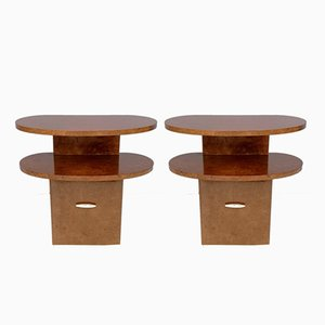 Mid-Century Italian Mahogany Pomelè Nightstands, Set of 2