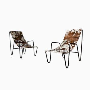 Sling Sessel aus Rindsleder, 1950er, 2er Set