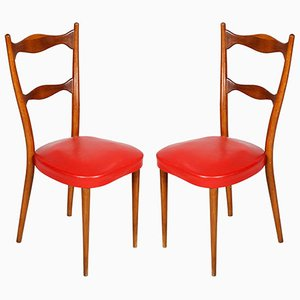 Vintage Leather Side Chairs, 1940s, Set of 2