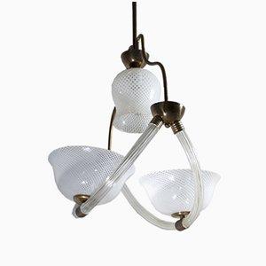 Lámpara de techo Reticello de cristal de Murano de Ercole Barovier, años 40