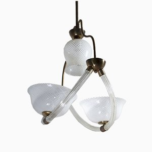 Reticello Murano Glass Ceiling Lamp by Ercole Barovier, 1940s