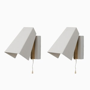 Mid-Century Metal and Brass Wall Lamps, Set of 2