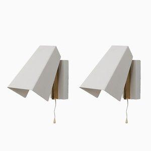 Mid-Century Wandlampen aus Metall und Messing, 2er Set