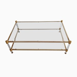 Glass and Golden Metal Coffee Table from Roche Bobois, 1970s