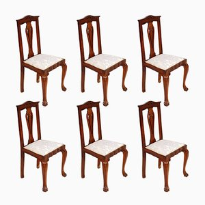 Italian Baroque Chippendale Style Walnut Chairs, 1920s, Set of 6