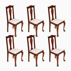 Italienische Barockstühle aus Nussholz im Chippendale-Stil, 1920er, 6er Set