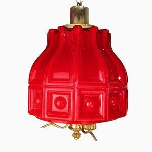 Lampe à Suspension en Verre Opalin Rouge par Helena Tynell pour Flygsfors, 1960s