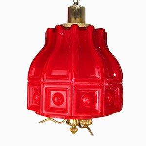 Rote Hängelampe aus Opalglas von Helena Tynell für Flygsfors, 1960er