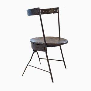 Antiker viktorianischer Barrel Stuhl aus Gusseisen & Eiche