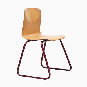 Beech & Red Metal S23 Chair from Galvanitas, 1960s
