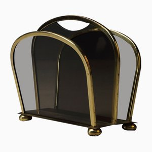 Brass and Glass Magazine Rack from Vereignite Werstätten, 1960s
