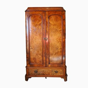 Antique Victorian Burr Walnut & Parchment Wardrobe