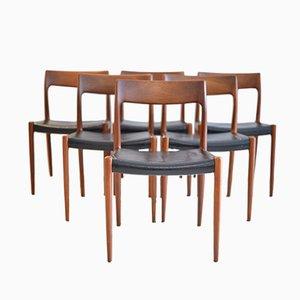 Nr.77 Esszimmerstühle aus Teak von Niels Otto Möller für J.L. Möller, 1964, 6er Set