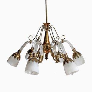 Lámpara de araña de cristal de Murano de Ercole Barovier, años 40