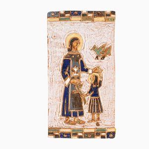 Targa raffigurante la Madonna col bambino in ceramica di Les Argonautes, anni '50
