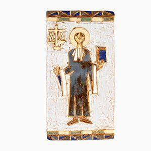 Targa Mid-Century raffigurante la Giustizia in ceramica di Les Argonauts