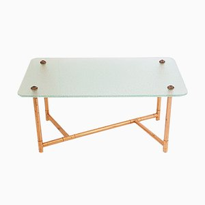 Glass & Copper Coffee Table, 1950s