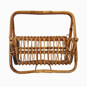 Vintage Wicker & Bamboo Magazine Rack