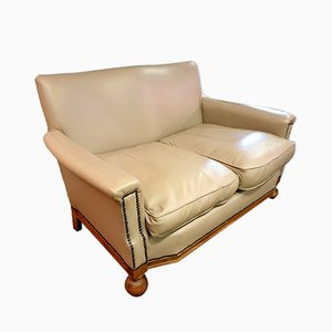 Small Art Deco Leather Sofa, 1930s