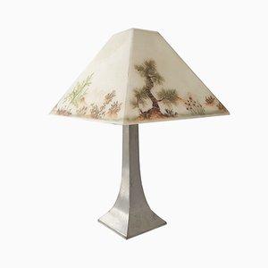 Lámpara de mesa de estaño y fibra de vidrio de Les Étains des Potstainiers Hutois, años 70
