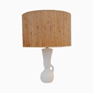 Lámpara de mesa francesa de cerámica blanca, años 50