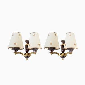 Lámparas de pared de bronce y metal, años 50. Juego de 2