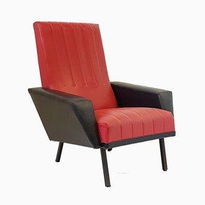 Französischer Vintage Sessel aus rotem Skai & schwarzem Metall, 1950er