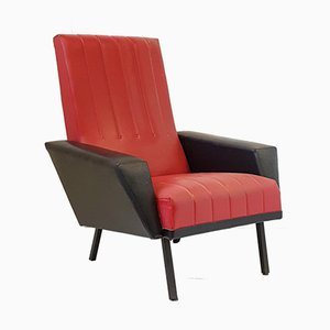 Vintage French Red Skai & Black Metal Armchair, 1950s