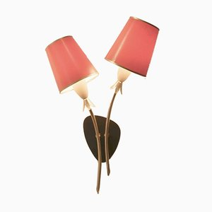 Mid-Century Brass & Paper Wall Lights, Set of 2