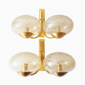 Lámparas de pared vintage de latón y vidrio. Juego de 2