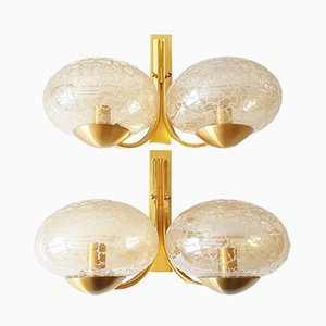 Vintage Brass and Glass Wall Lights, Set of 2