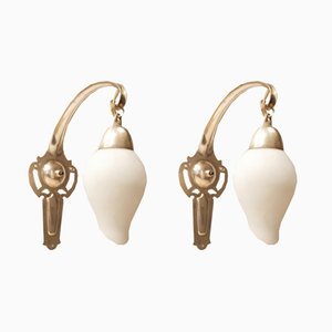 Mid-Century Drop-Shaped Brass & Glass Wall Lights, Set of 2