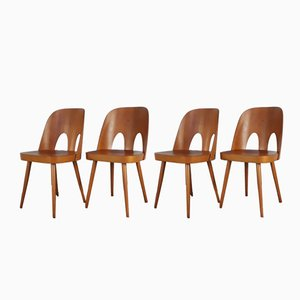 Mid-Century Czech Beech Chairs by Oswald Haerdtl for TON, 1950s, Set of 4
