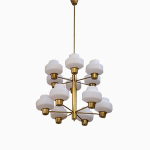 Swedish Brass Chandelier by Hans Bergström for ASEA, 1950s