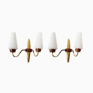 Vintage French Brass, Copper & Glass Wall Lights, 1950s, Set of 2