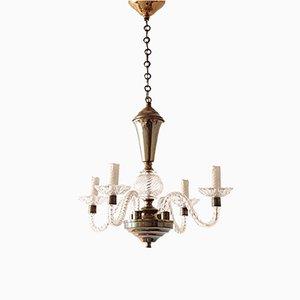 Lámpara de araña italiana de vidrio y latón, años 50