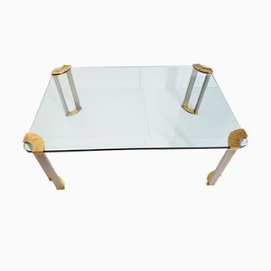 Low Rectangular Brass & Steel Table, 1970s
