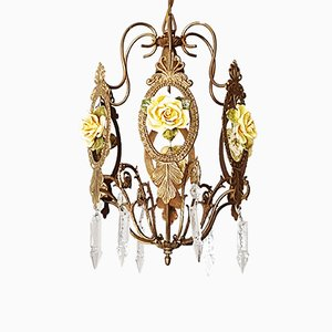 Vintage Glass & Brass Chandelier