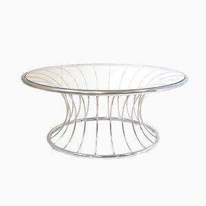 Mesa de centro vintage de acero cromado y vidrio, años 70