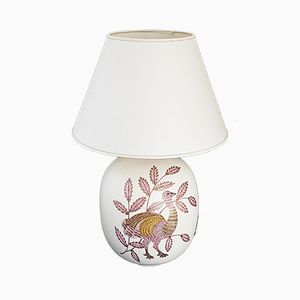 Keramiklampe mit bemaltem Decor, 1970er
