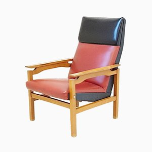 Scandinavian Beech & Imitation Leather Armchair, 1960s
