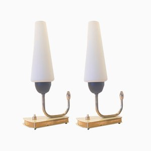 Mid-Century Nachttischampen aus Messing, 2er Set