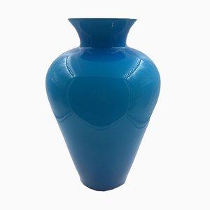 Vaso in vetro opalino blu di Paolo Venini, 1984
