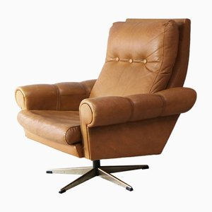 Mid Century Leather Swivel Lounge Chair, 1960s